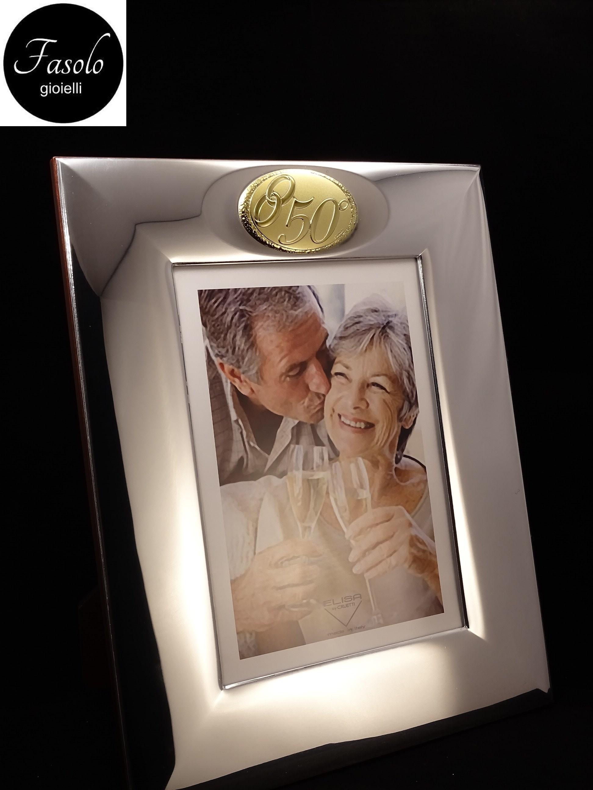 Anniversario Di Matrimonio Torino.Cornice Portafoto In Argento E Legno 50 Anniversario Nozze D Oro
