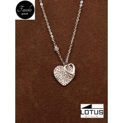 Collana con doppio cuore in acciaio e cristalli