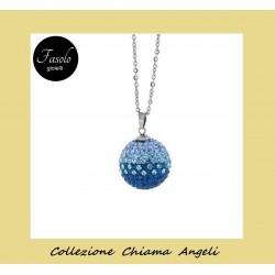Collana Chiama Angeli strass sfumature blu