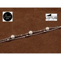 Bracciale a due fili in acciaio e perle