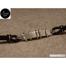 Bracciale con inserti mobili - argento e cuoio marrone