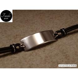 Bracciale con piastra larga - argento e cuoio marrone
