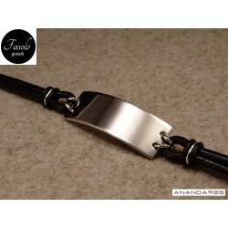 Bracciale con piastra larga - argento e cuoio nero