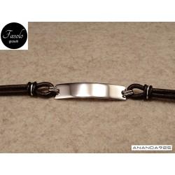 Bracciale con piastra - argento e cuoio marrone