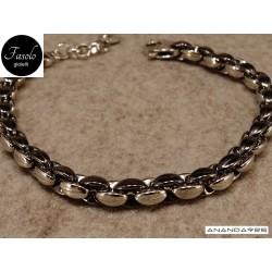 Bracciale in argento rodiato e brunito lucido